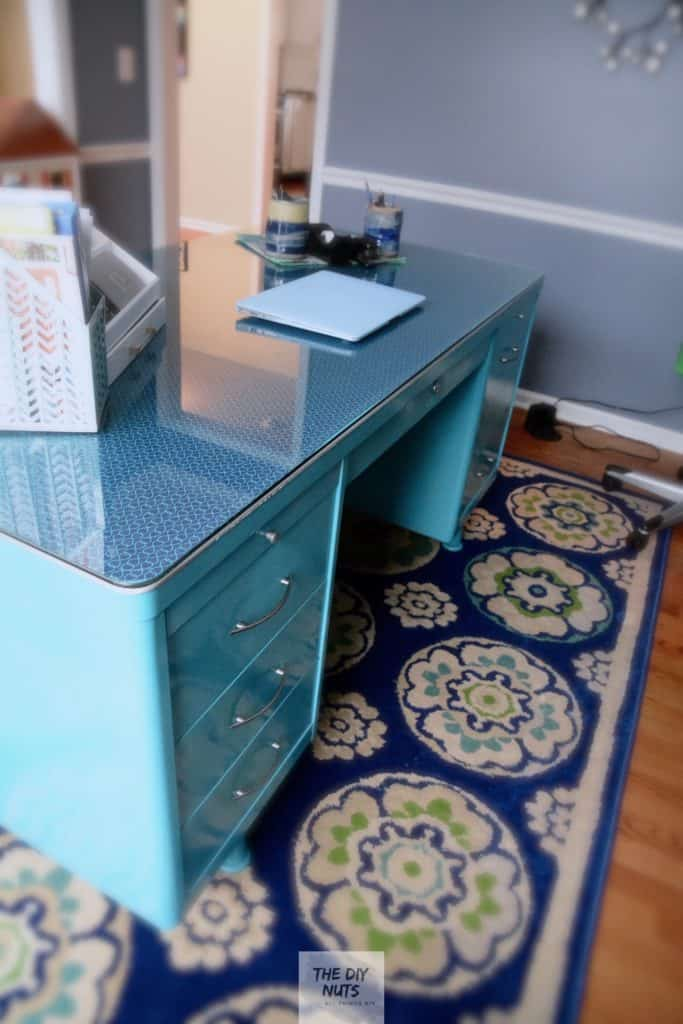 DIY Teal Metal Desk Makeover