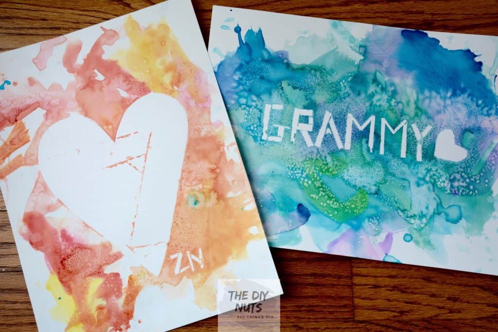 Heart Watercolor painting and Grammy watercolor art projects made by toddlers