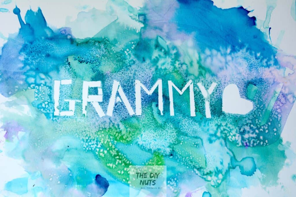 grammy easy watercolor artwork made by preschooler