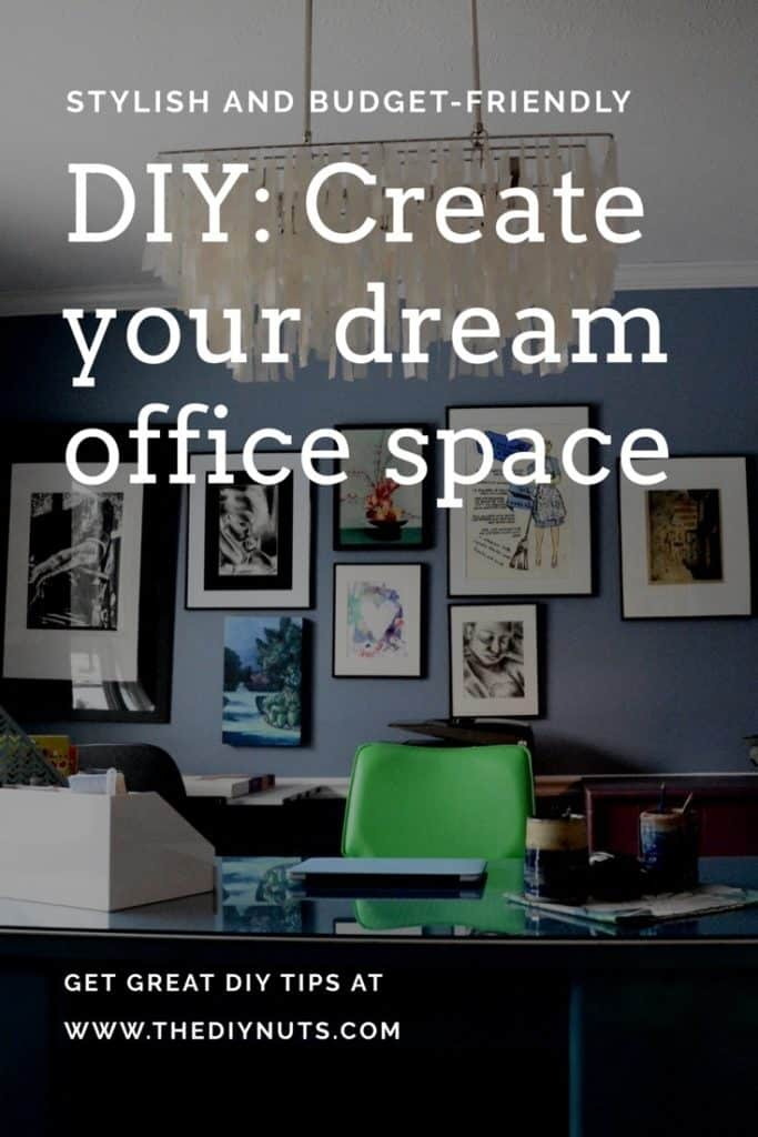 Picture of teal metal desk makeover in art studio and home office with wording DIY Dream Office Space