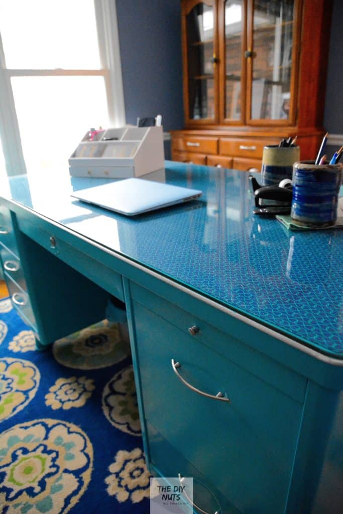Turn an old metal desk into a great piece for the home office.