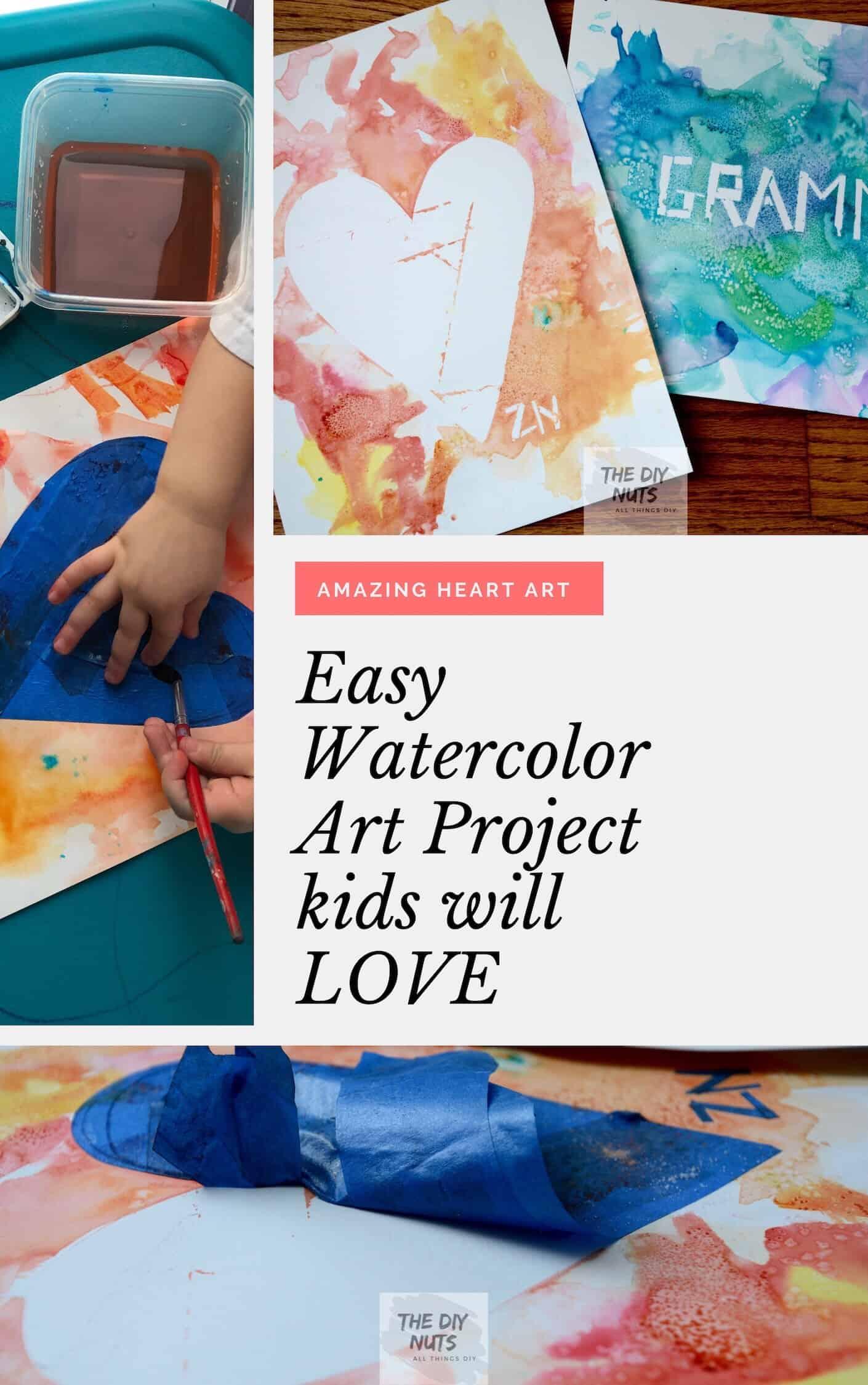 Easy Watercolor Art Project Kids Will Love Heart Art The