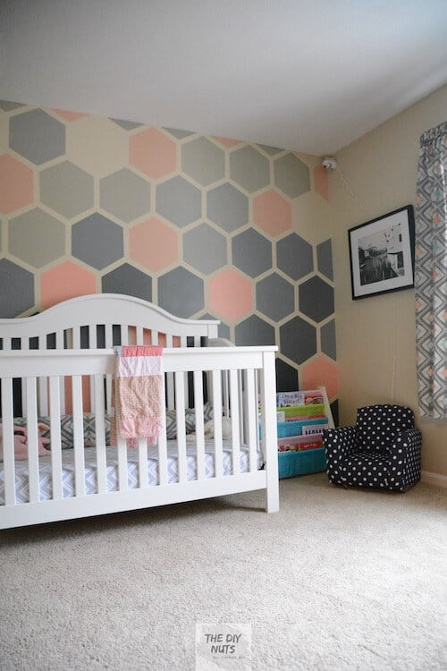 DIY Girl Nursery with painted accent wall