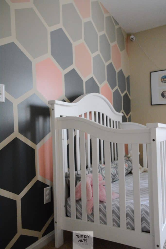 Finished Ombre Hexagon Nursery Wall