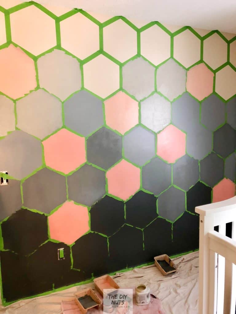 Ombre Hexagon Wall being painted