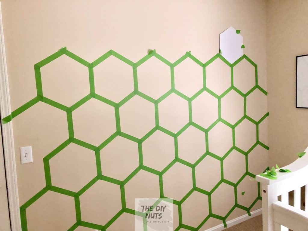 Taped out hexagon pattern on wall