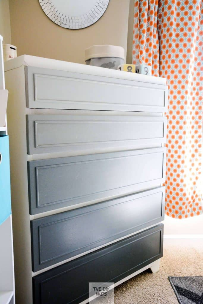 DIY gray ombre chalk painted dresser in nursery