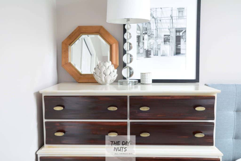 Close-up of Midcentury Modern Dresser makeover using gel stain and diy chalk paint