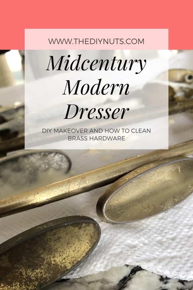 Midcentury Modern Dresser Brass Hardware DIY Makeover