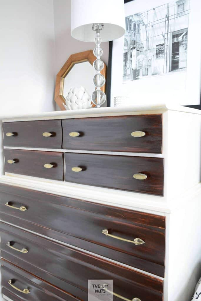 Side Angle of midcentury dresser furniture makeover using gel stain and gray chalk paint