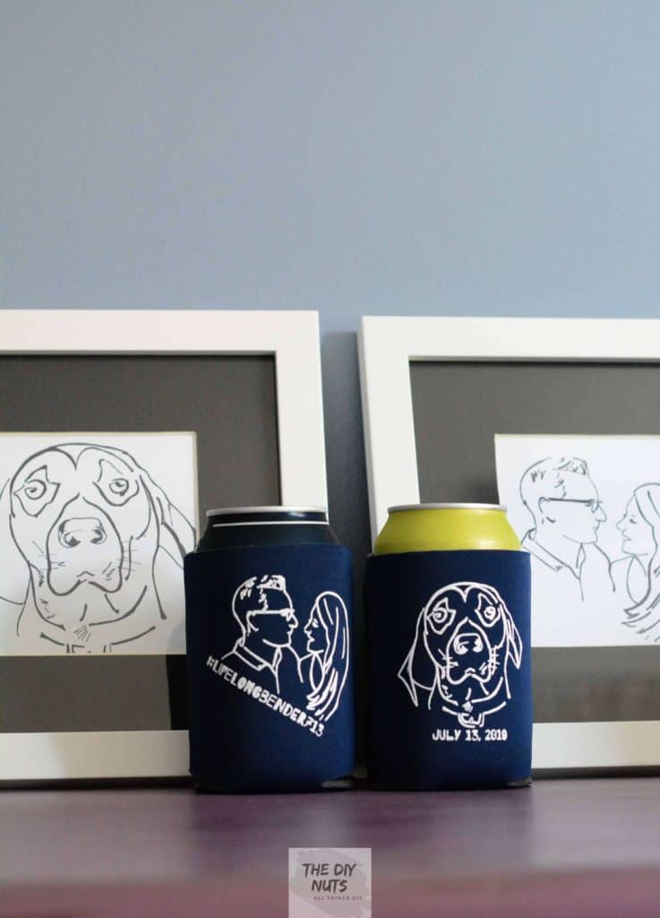 two blue koozies and two framed artworks for diy wedding gift