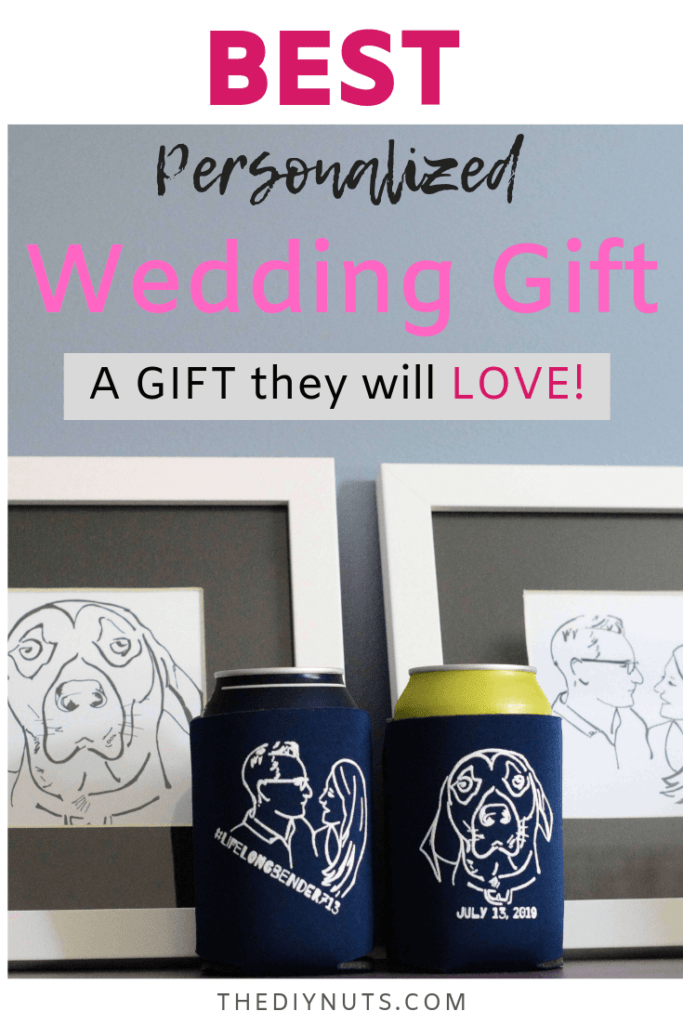 Two blue wedding koozies with drawings of a dog and wedding date and a personalized drawing of the couple in front of personalized drawings done for the couple.