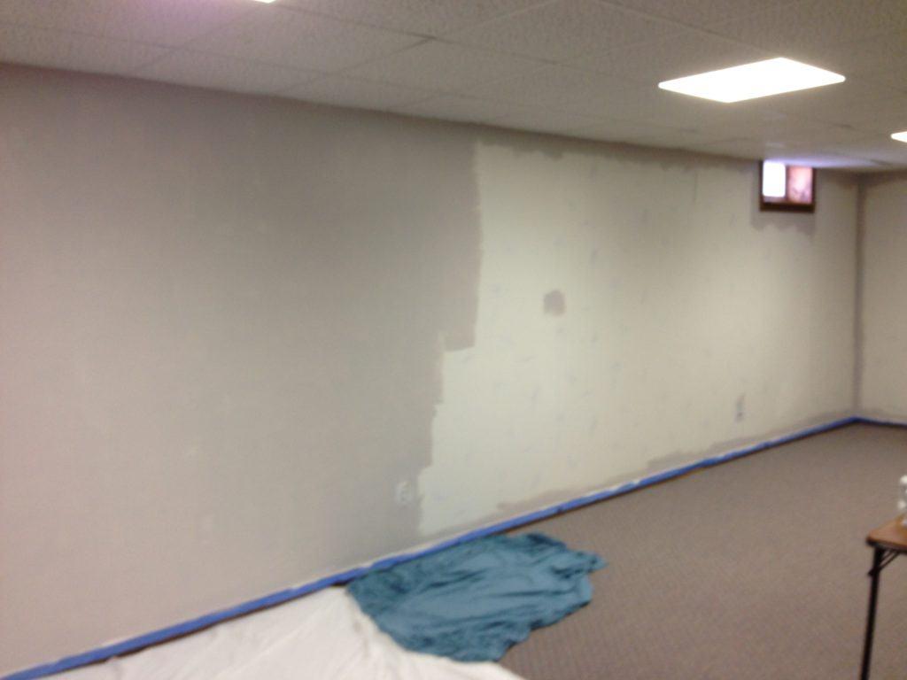 Gray paint over wallpaper sealer