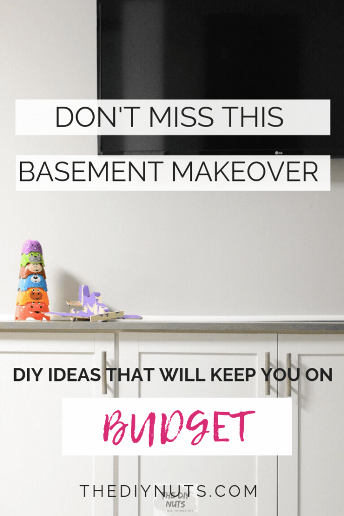 DIY BASEMENT makeover that will keep you on budget with image of DIY white built-in entertainment and storage