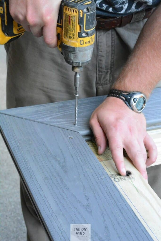 Add mitered composite decking top to pressure treated wood outdoor table base