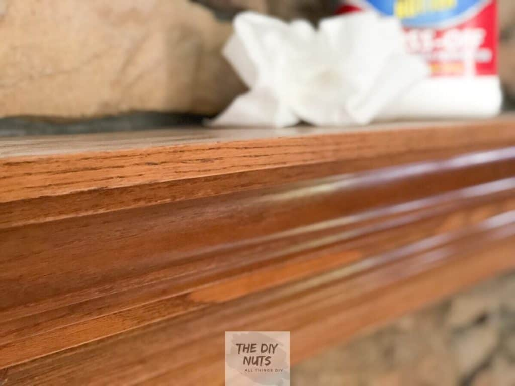 Oak mantle using a deglosser to prep for painting