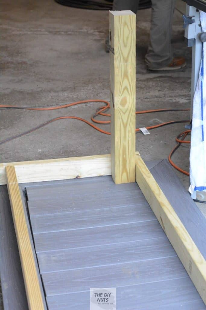 Create the beginning frame out of pressure treated wood and place on top of composite decking