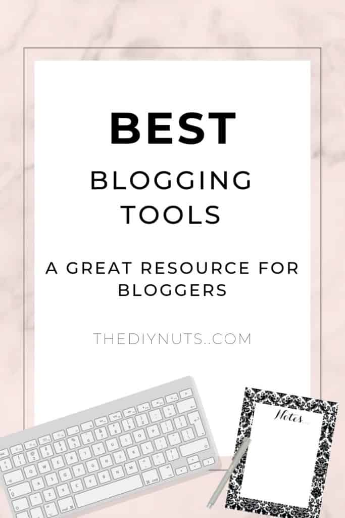 Best Blogging Tools and Tips writing over white and pink background with keyboard and notepad