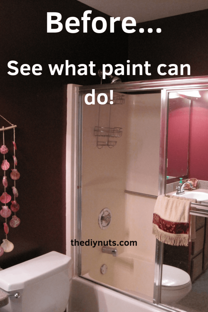 See how paint changed a small bathroom with a herringbone accent wall