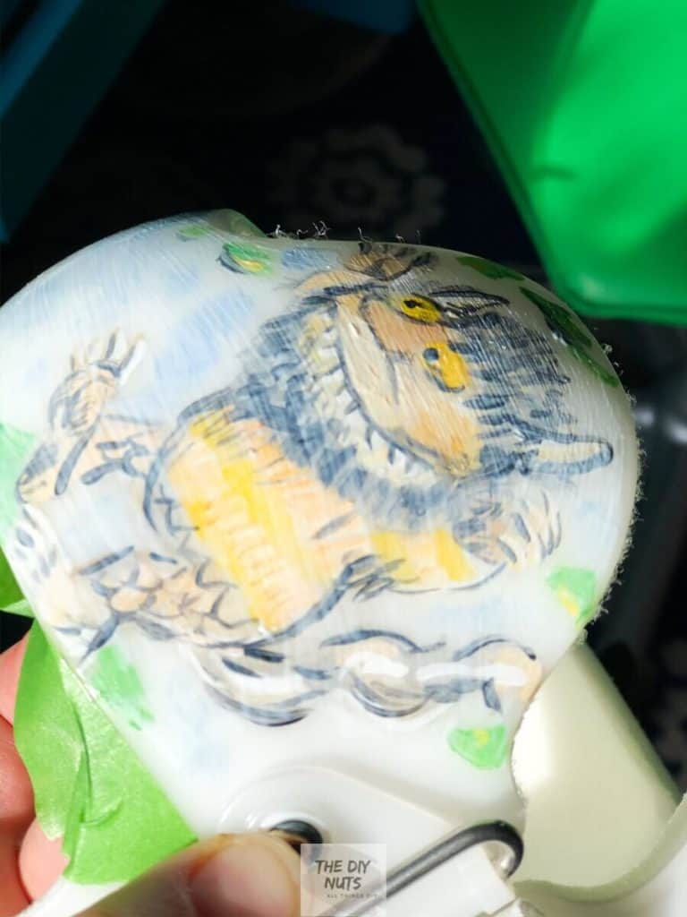 Apply mod podge to your painted baby helmet to help protect it
