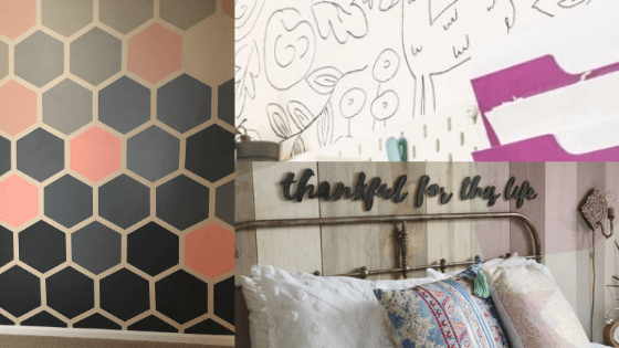 Ombre Hexagon Accent Wall, Sharpie Accent Wall and Wood Plank Accent Wall