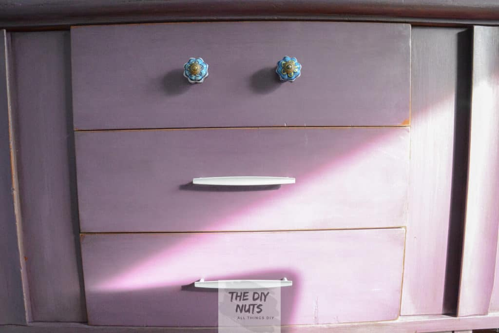 DIY Chalk Painted Purple buffet with new hardware