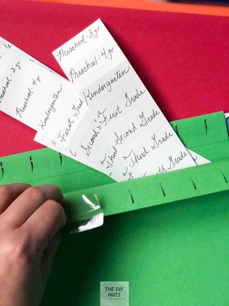 File labels and hanging folder for DIY memory box