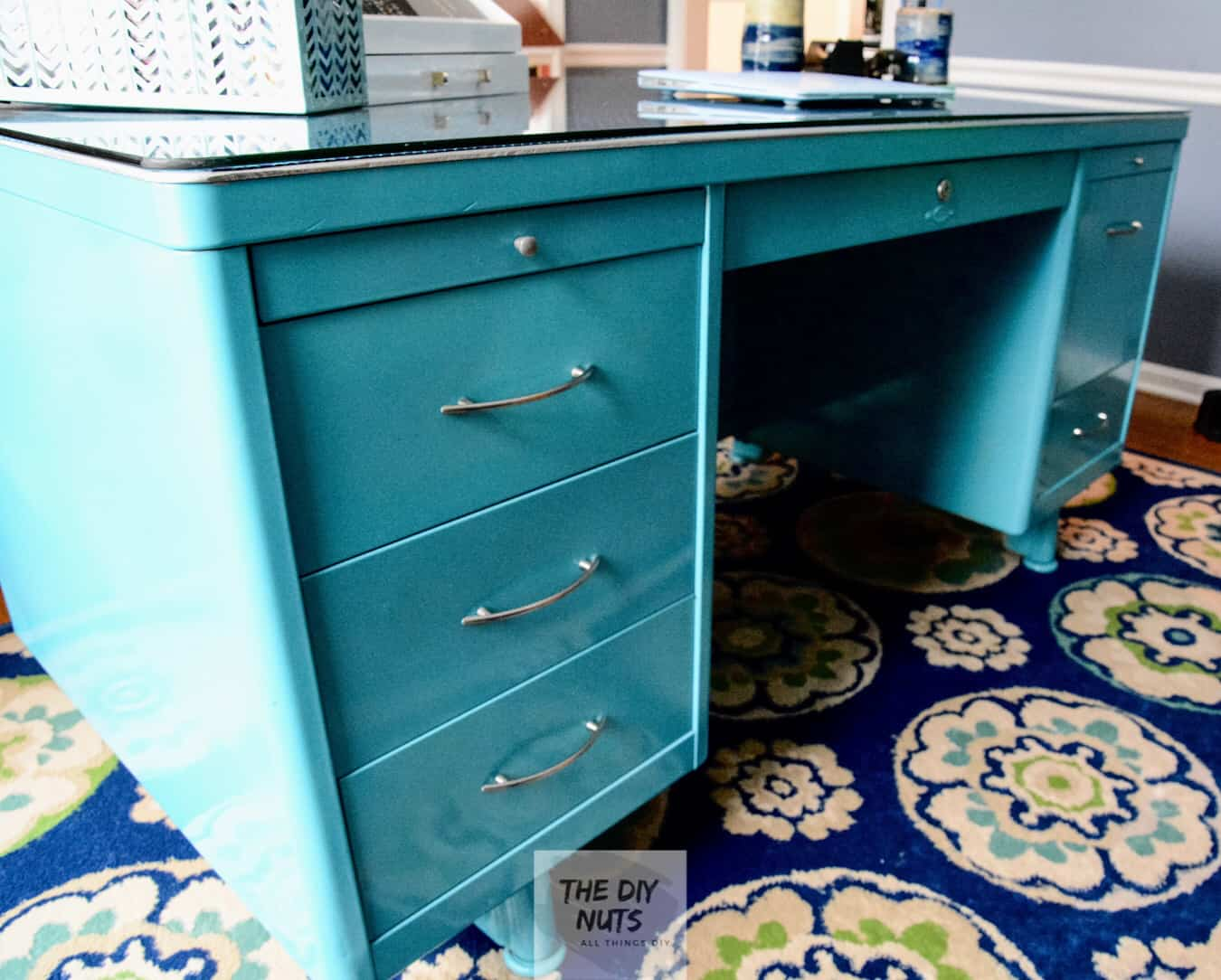 DIY Metal Teal Desk Makeover with Glass Top