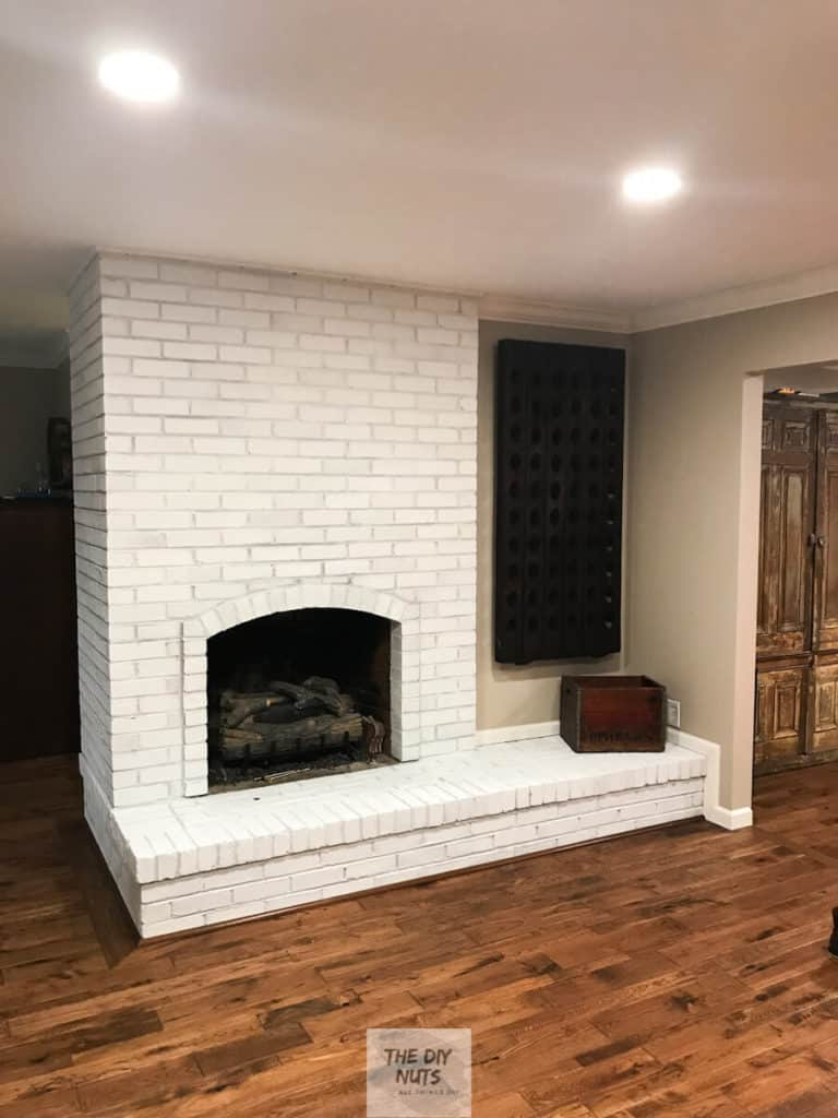 Finished White Painted Fireplace Makeover