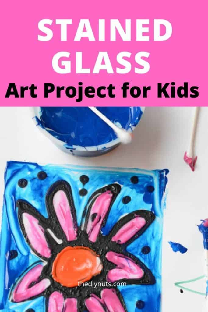 Stained Glass Art Project for kids with painted faux stained glass window project