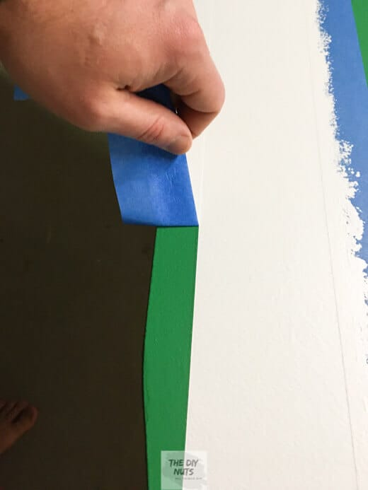 Green and white paint used to create DIY poker table
