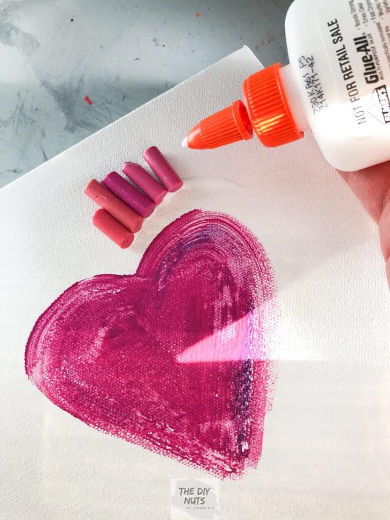 DIY melted crayon canvas art preparation