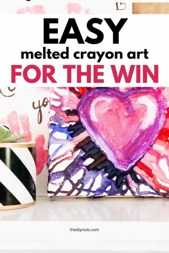 Easy melted crayon art for the win with heart melted crayon artwork