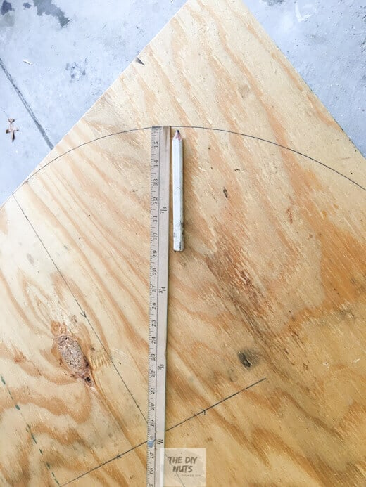 Plywood with yardstick to measure for Large DIY folding table