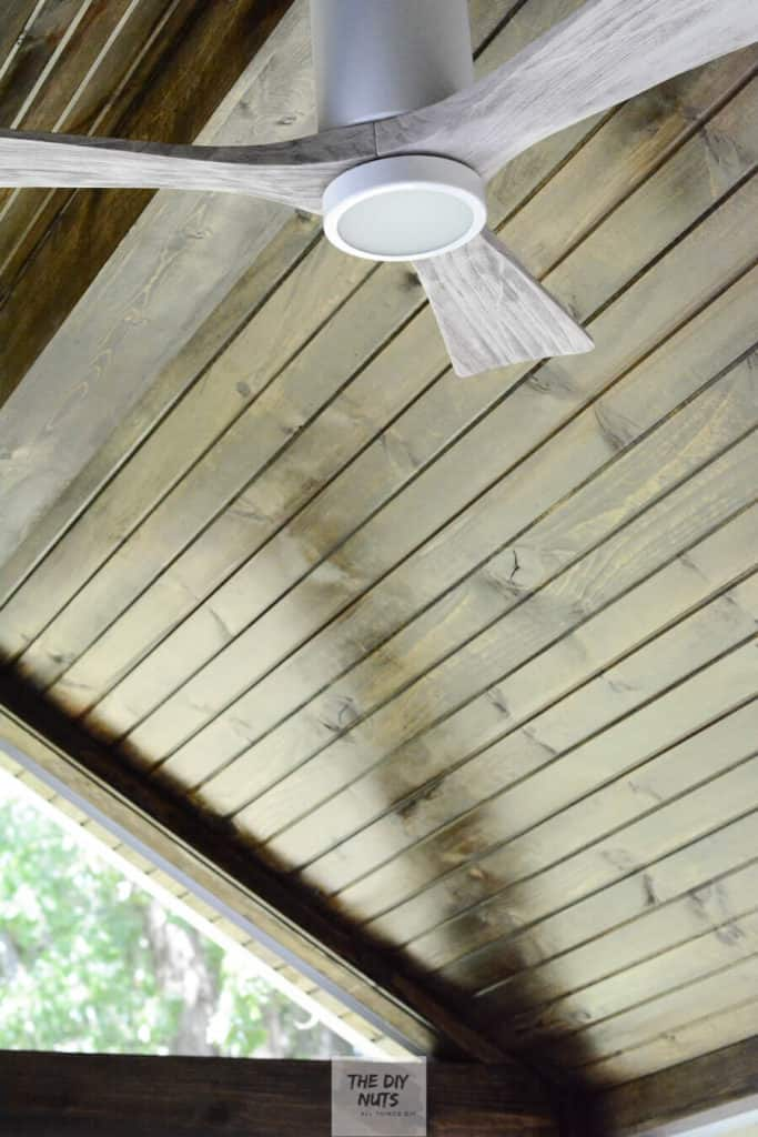 Outdoor Ceiling Fan with Tongue and Groove Ceiling