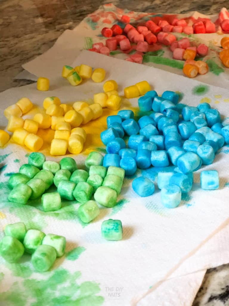 Colored marshmallows drying for rainbow craft
