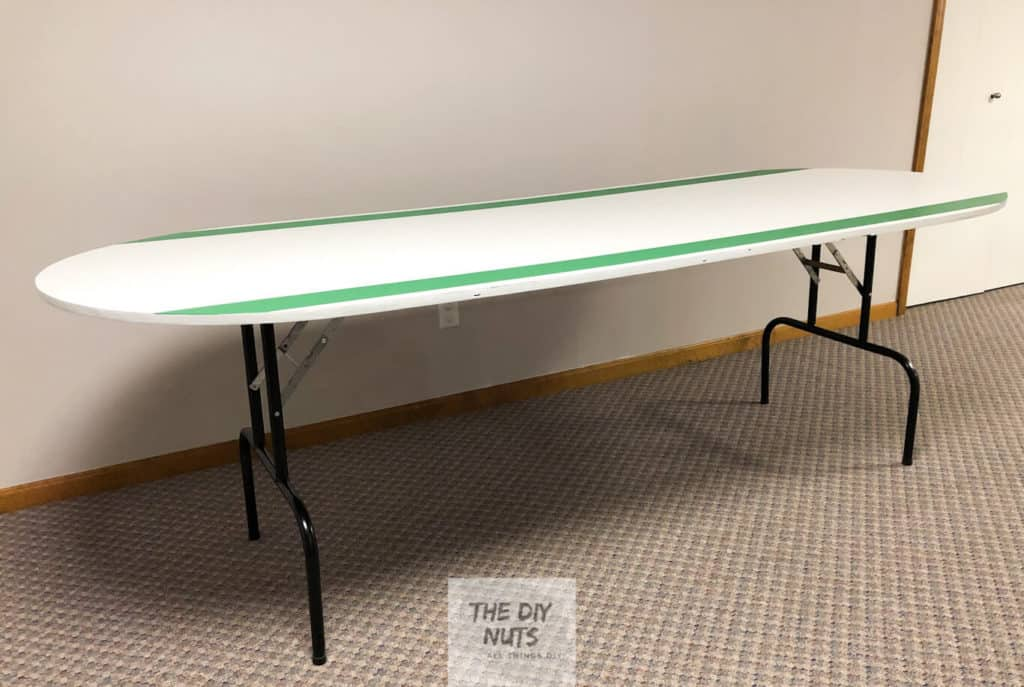 White and green DIY folding table