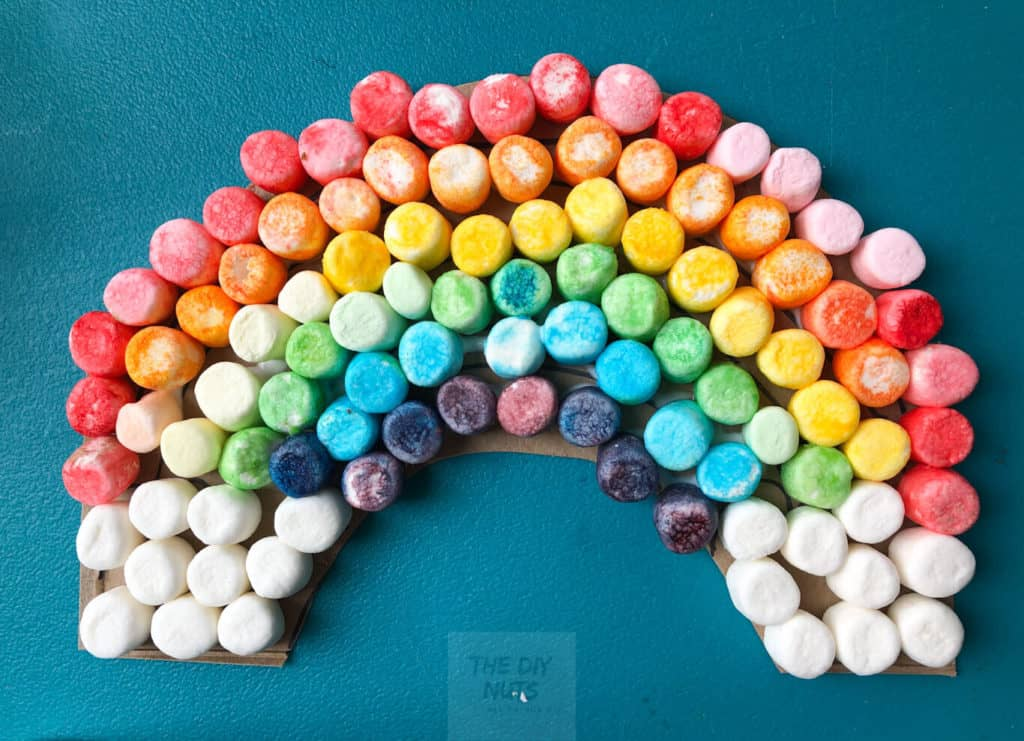 Finished rainbow craft with marshmallows