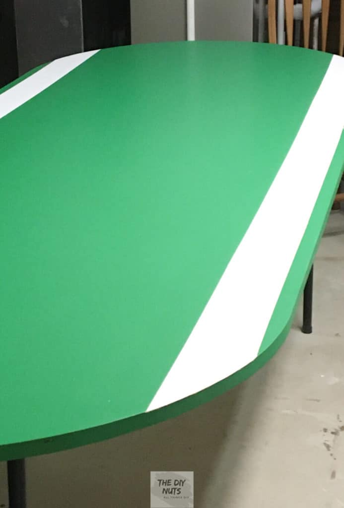 DIY folding green poker table with white stripe