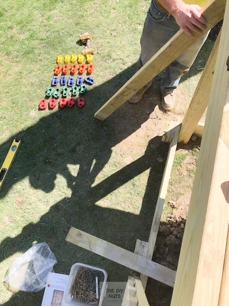 Rock wall holds with diy wall base