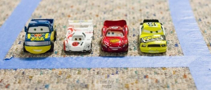 Easy Racetrack for kids with painter's tape