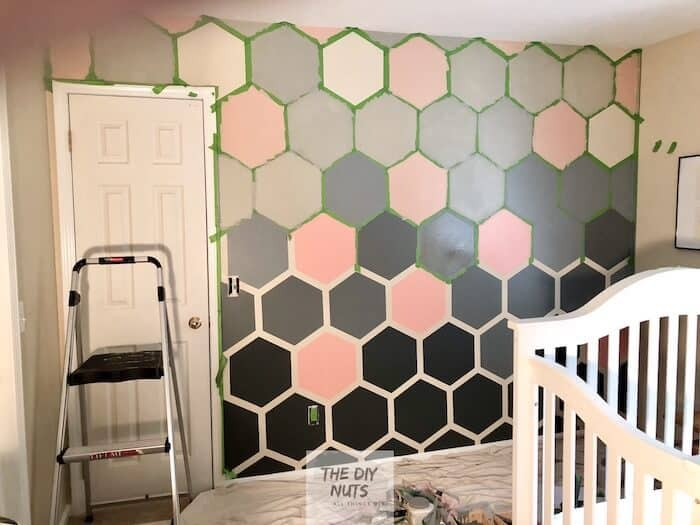 In-progress DIY painted hexagon accent wall