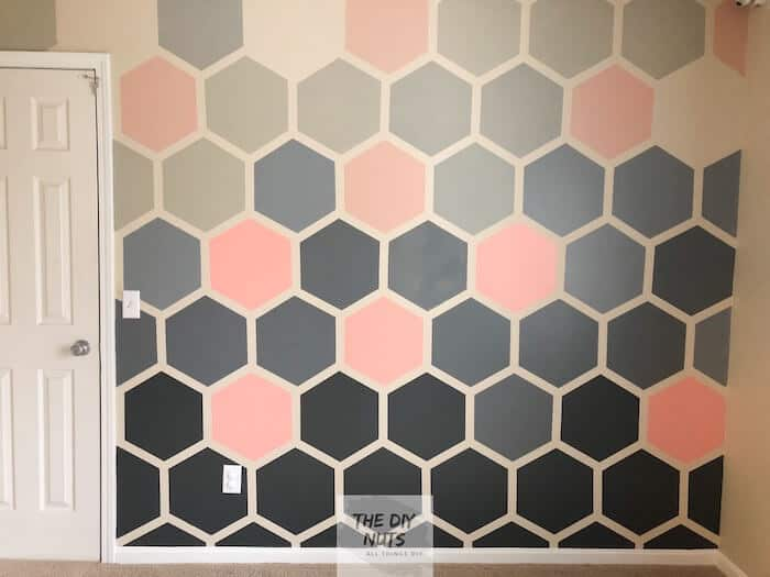 Pink & Gray Hexagon Ombre Painted Wall