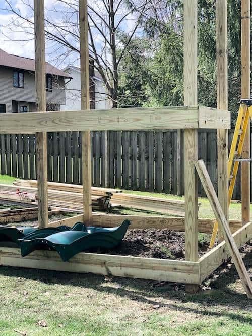 Backyard playground foundation