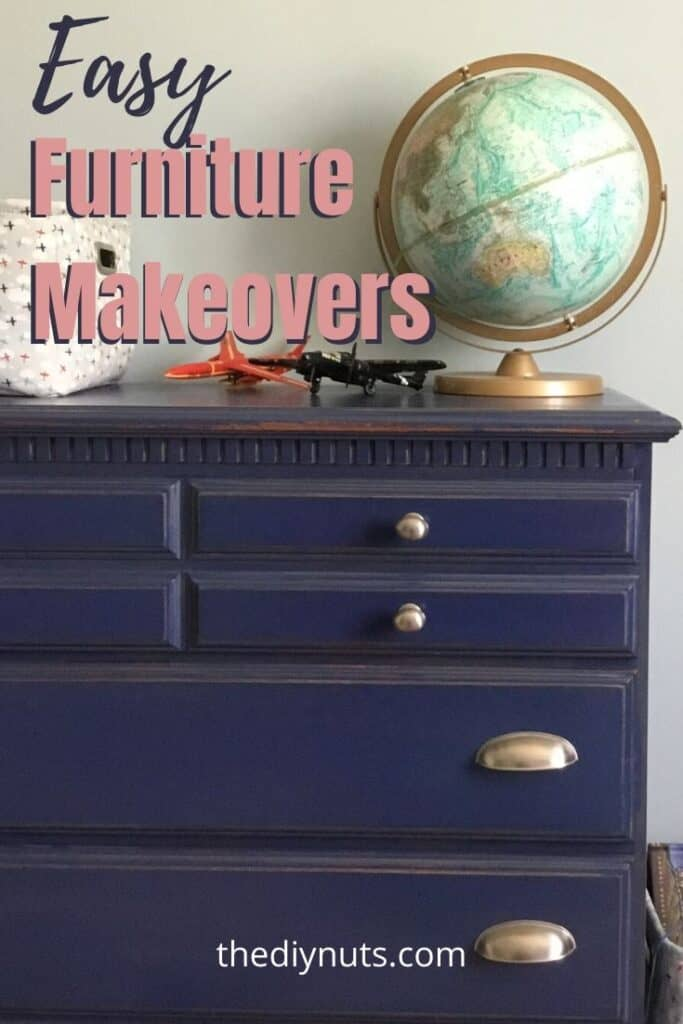 Easy Furniture Makeover with blue painted dresser