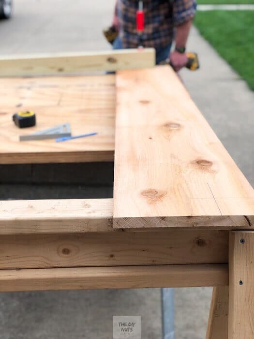 Cedar wood being used for DIY planter box