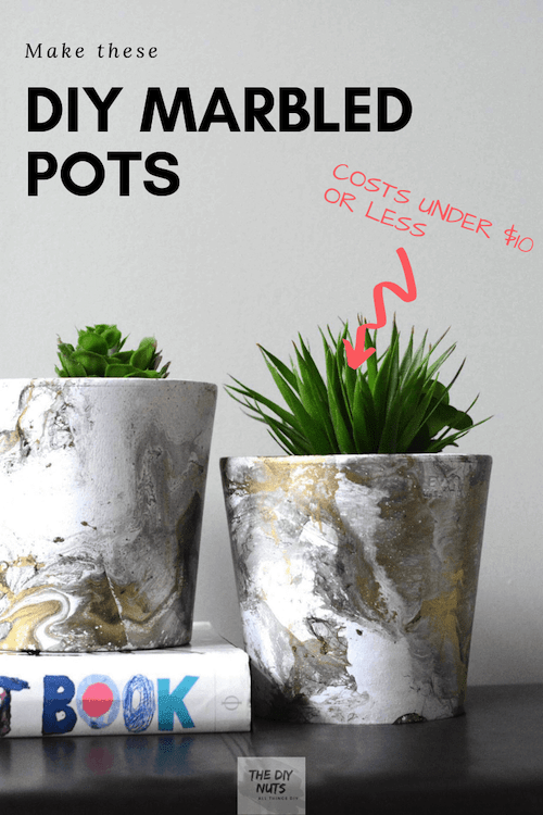 Make these DIY Marbled Pots for under $10 with image of two faux marbled pots and green plants
