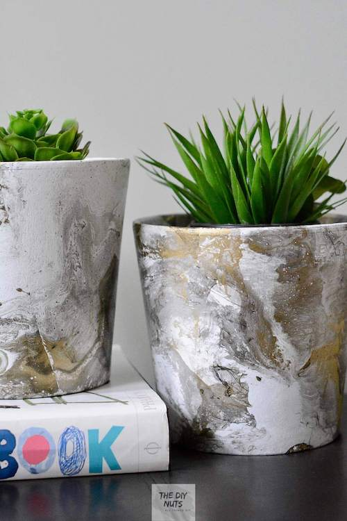Gold, Black and Gray DIY Marbled Pots using spray paint