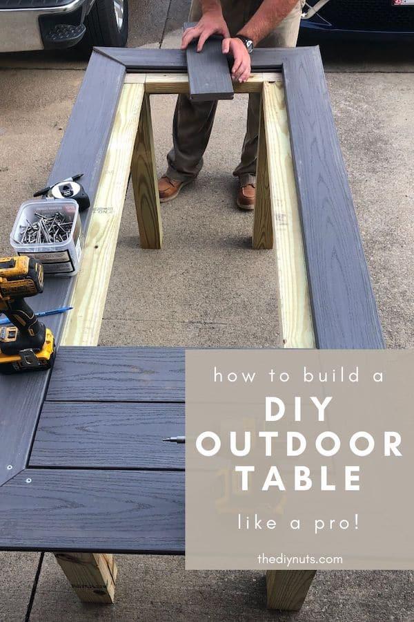 Gray DIY Outdoor Table