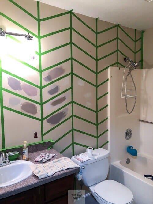 Frog tape herringbone design on wall